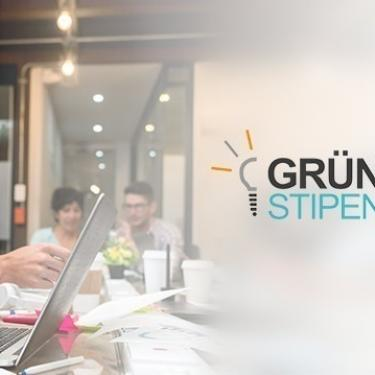 Logo of the GRÜNDERSTIPENDIUM NRW and two people in front of a laptop